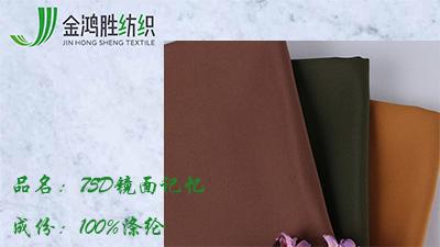 金鸿胜75D镜面记忆涤纶防水风衣面料 时尚派克服棉服布料
