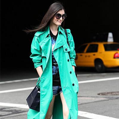 薄荷绿风衣外套